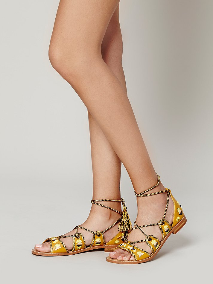 Free People Always Forever Lace Up Sandal In Mustard
