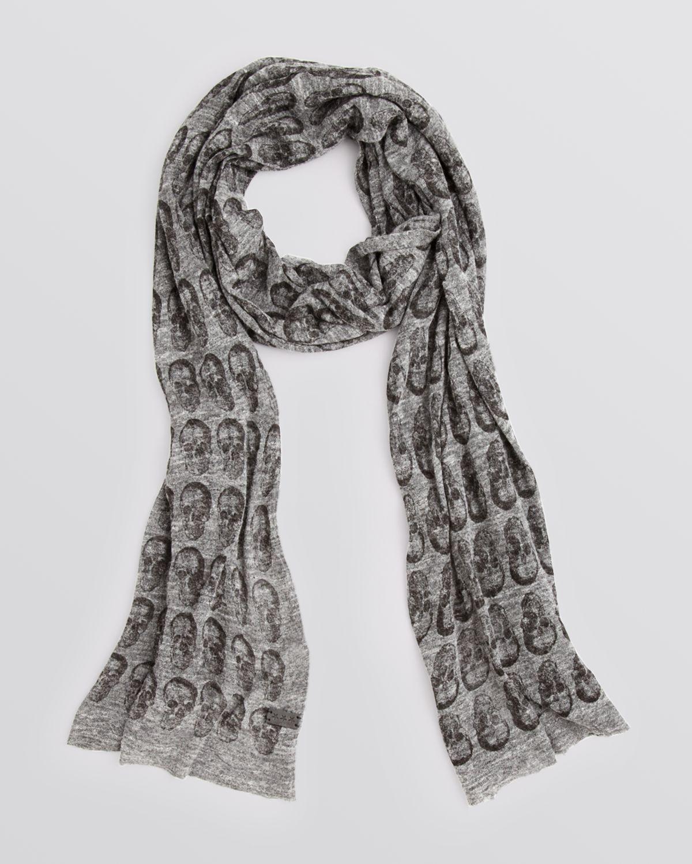 Knitting Pattern Skull Scarf : John Varvatos Star Usa Jersey Knit Skull Print Scarf in Gray for Men (SHADOW)...