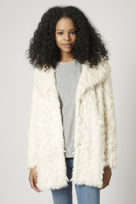Lyst Topshop Shaggy Faux Fur Coat In White