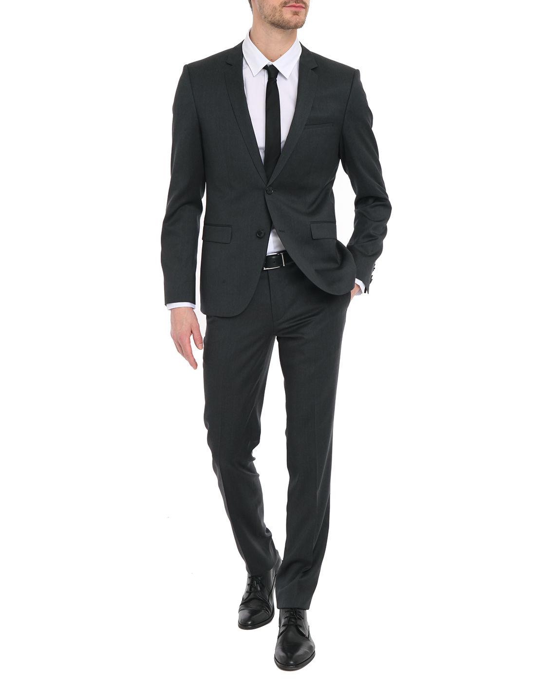 Hugo Adris Heibo Charcoal Grey Wool Slim-Fit Suit in Gray ...