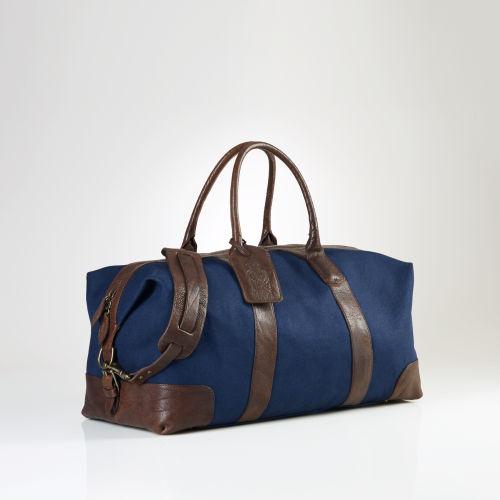 Lyst - Polo Ralph Lauren Canvas Leather Weekend Bag in Blue for Men 60887e3de7db0