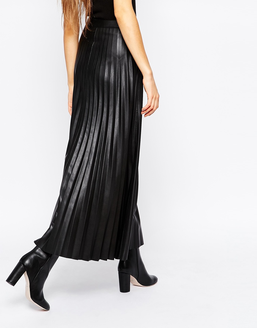 Urbancode Faux Leather Pleat Maxi Skirt in Black | Lyst