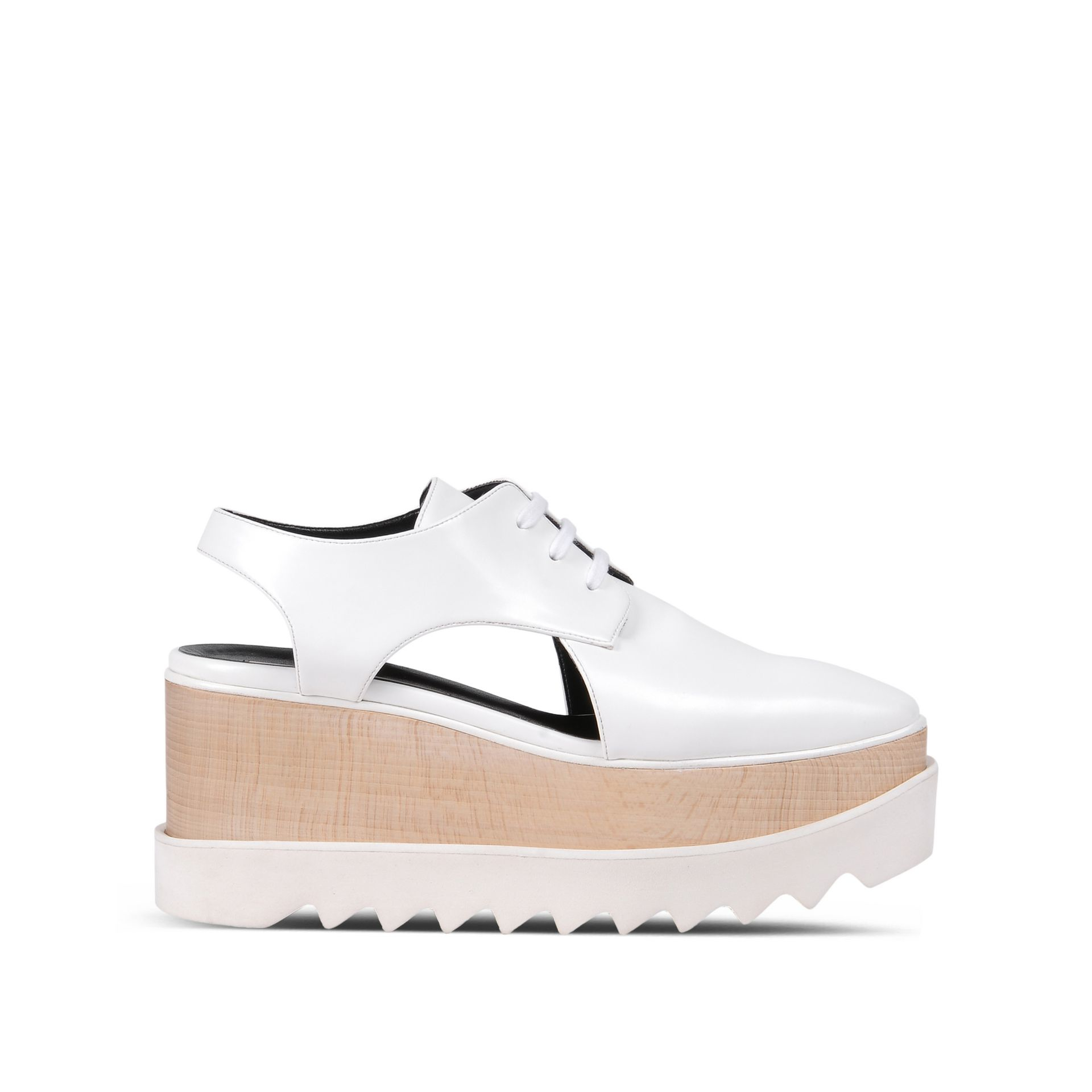 stella mccartney white elyse cut out shoes in black white