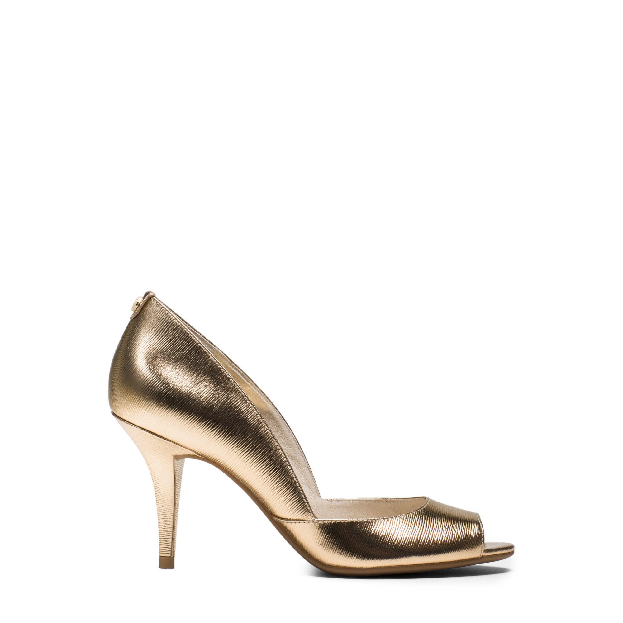 michael kors nathalie metallic leather pump in gold pale gold lyst. Black Bedroom Furniture Sets. Home Design Ideas