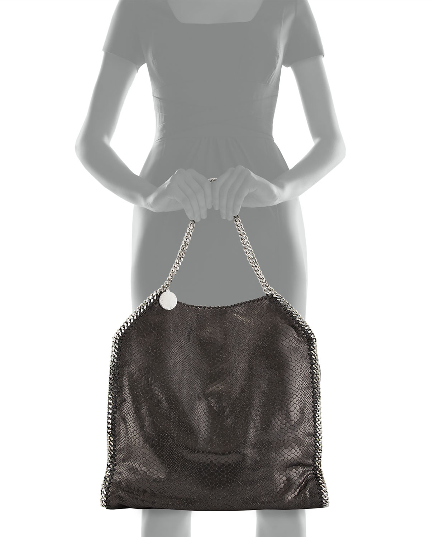 4ed678f55d17 Lyst - Stella McCartney Falabella Large Faux-python Tote Bag in Black