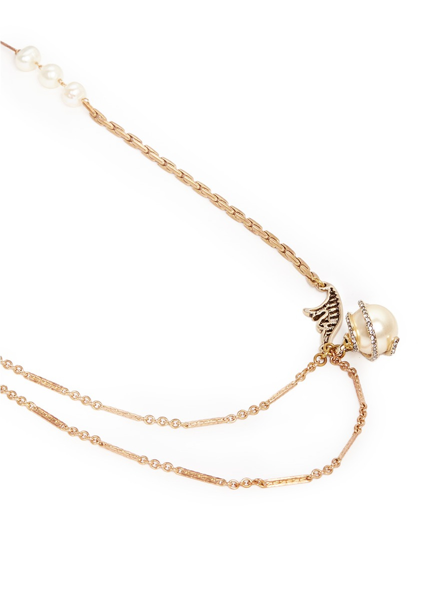 Lulu Frost 'oleander' Caged Glass Pearl Rope Necklace in Metallic