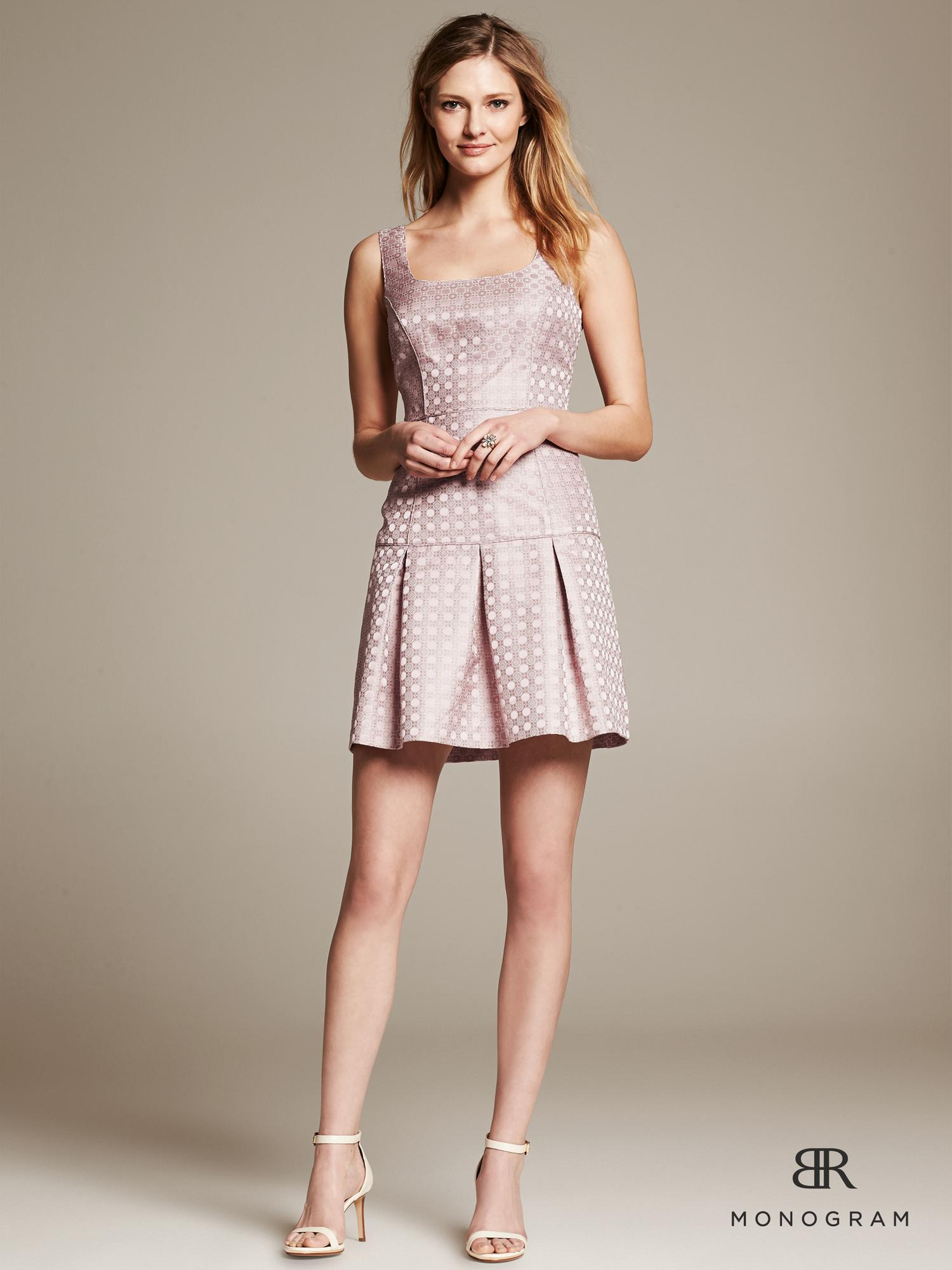 Banana Republic Monogram Pink Jacquard Fit And Flare Dress