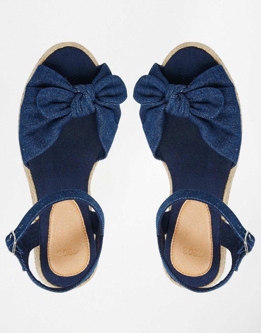 5b9a2a088e9c Lyst - ASOS Jilly Anne Bow Espadrille Sandals in Blue