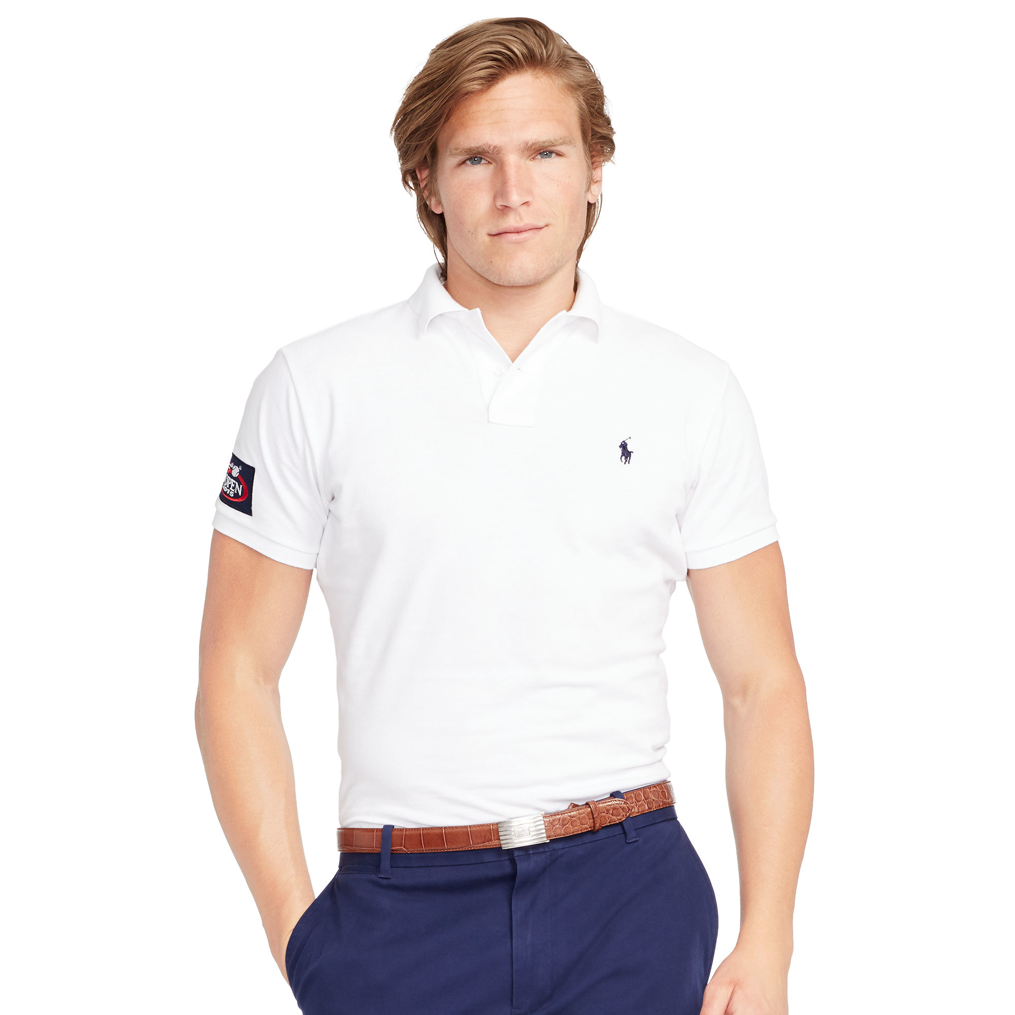 Ralph lauren us open custom fit polo shirt in white for for White fitted polo shirts