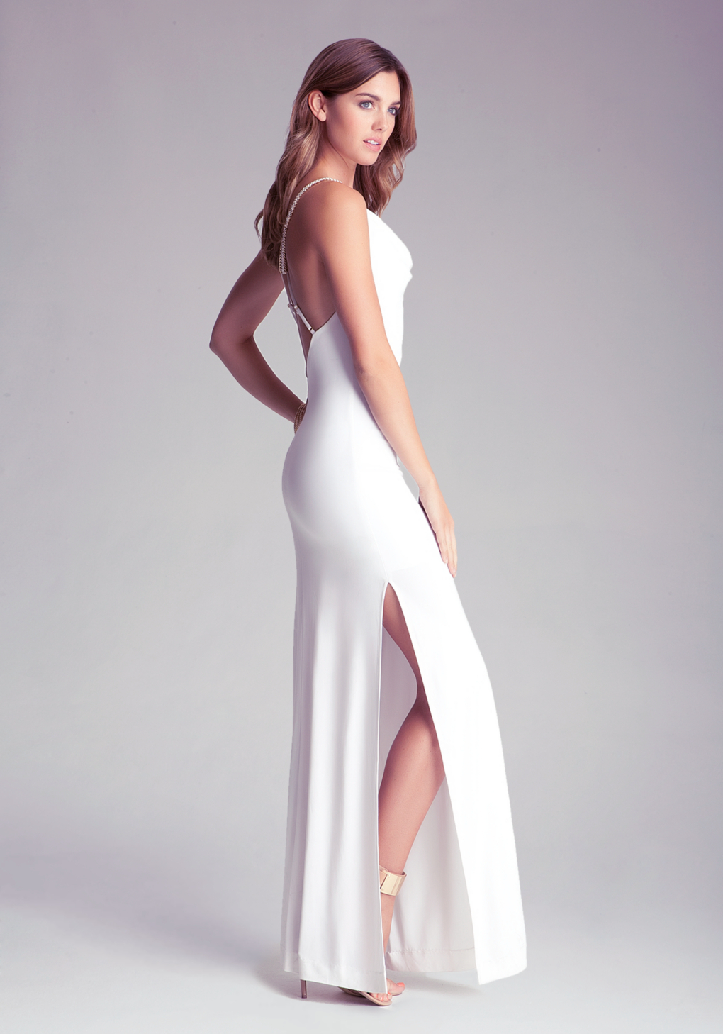 Lyst Bebe Long Cowl Neck Dress In White