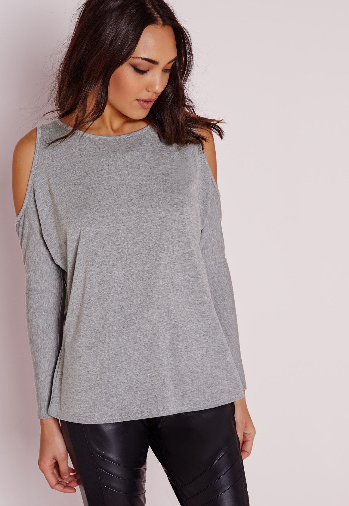 Missguided Cold Shoulder Tunic Top Grey In Gray Lyst