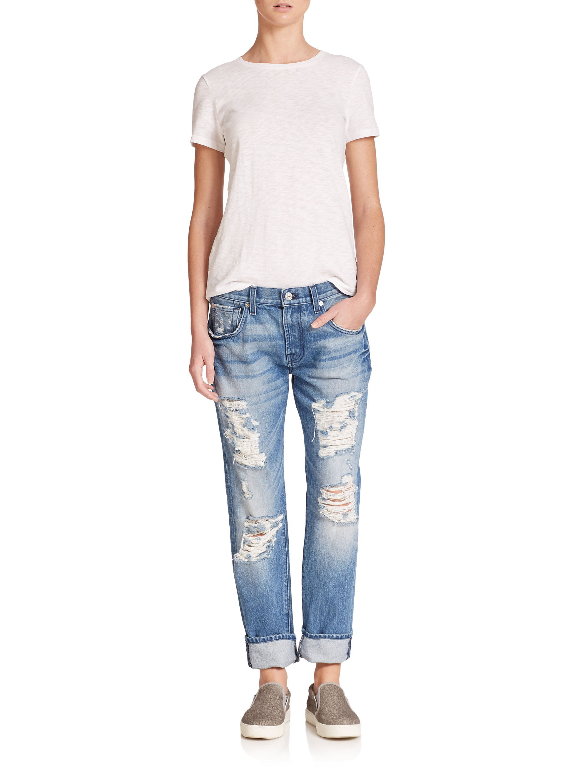7 for all mankind Distressed Relaxed Skinny Roll-up Jeans in Blue ...