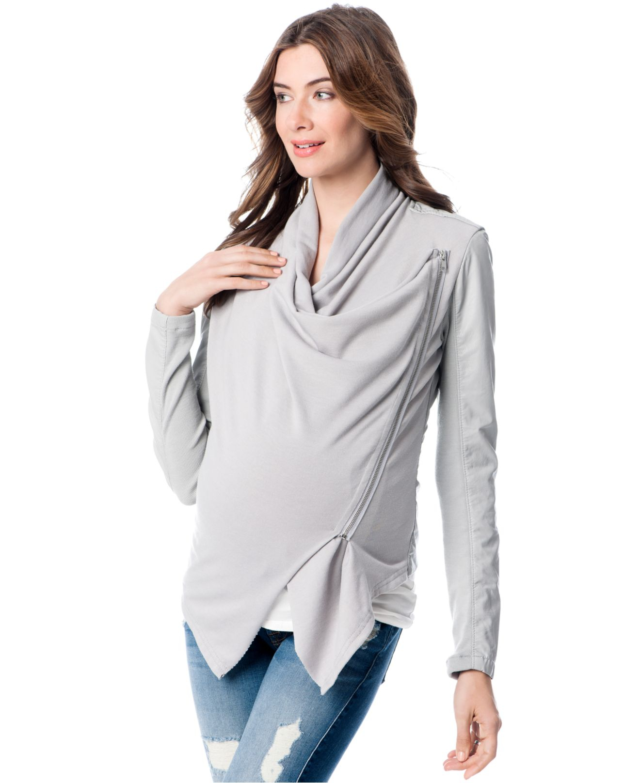 Lyst Blank Maternity Faux Leather Drape Front Jacket In Gray