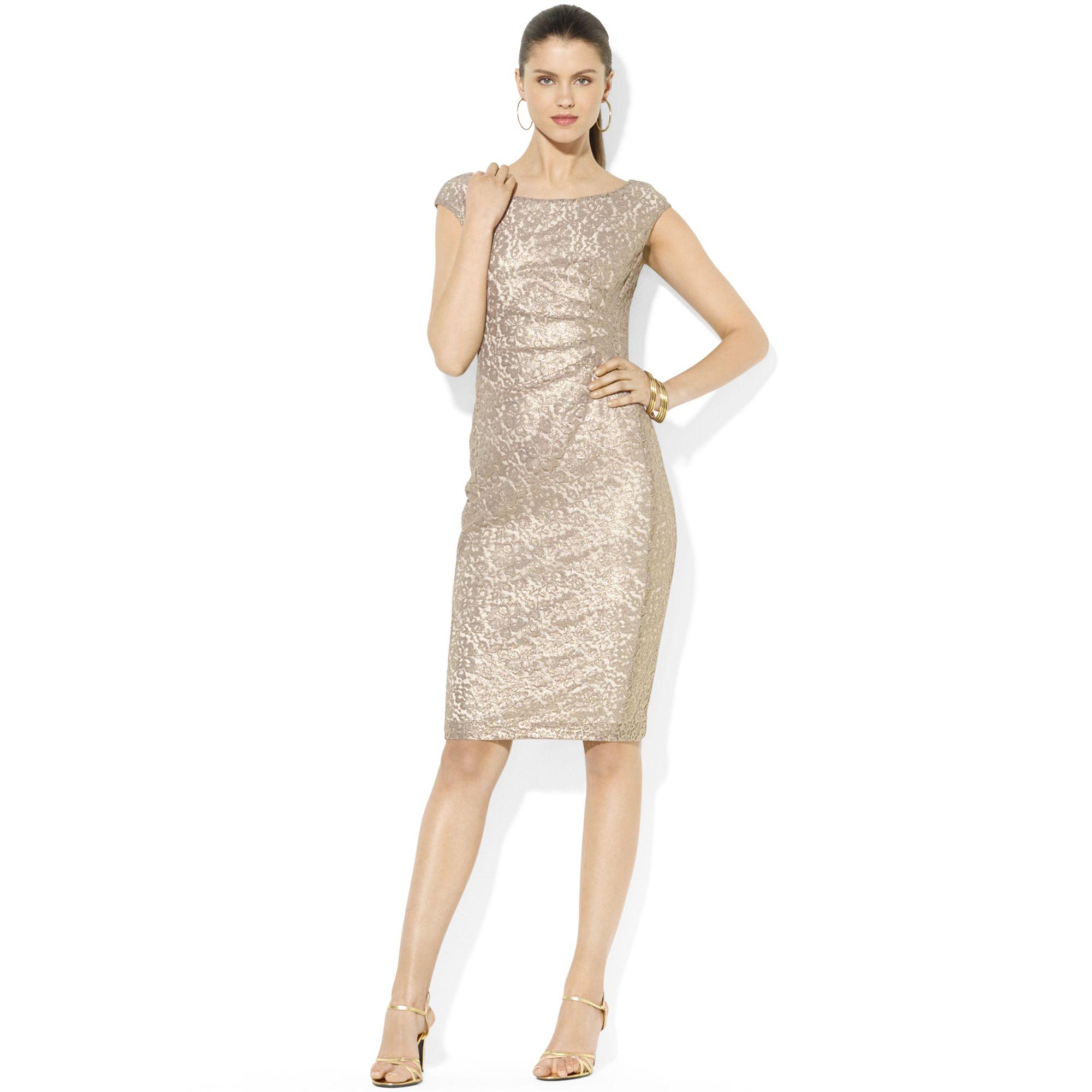 Dress lace gold floral