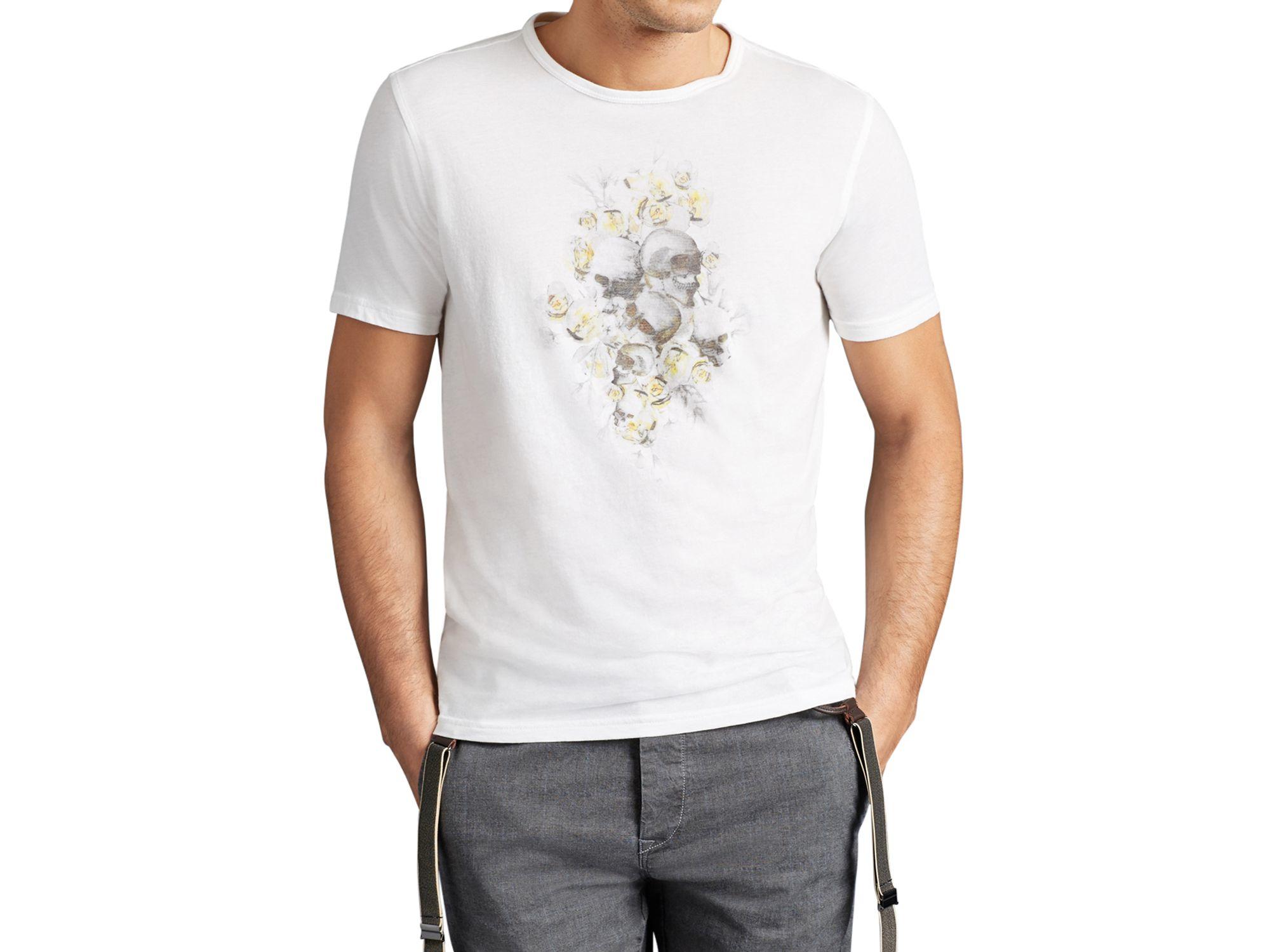 0d186a760 John Varvatos John Varvatos Star Floral Skull Graphic Tee in White ...