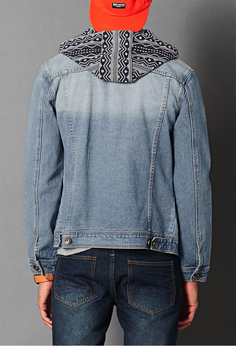 Lyst Forever 21 Print Hooded Denim Jacket In Blue For Men