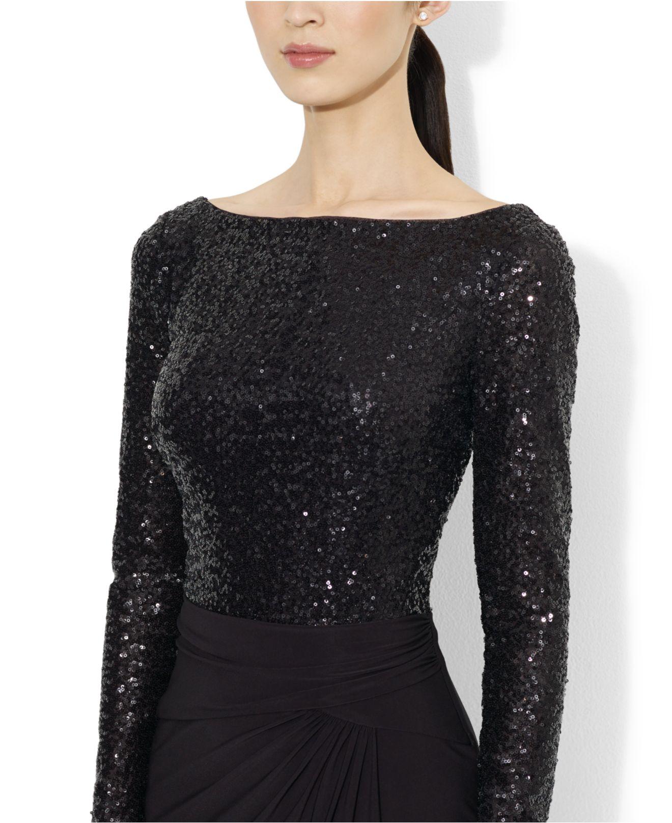 Lyst - Lauren By Ralph Lauren Long-Sleeve Sequined Dress in Black