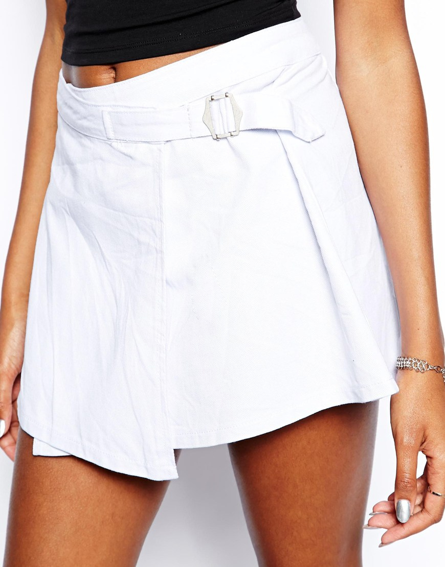 denim skirt with wrap and buckle detail in