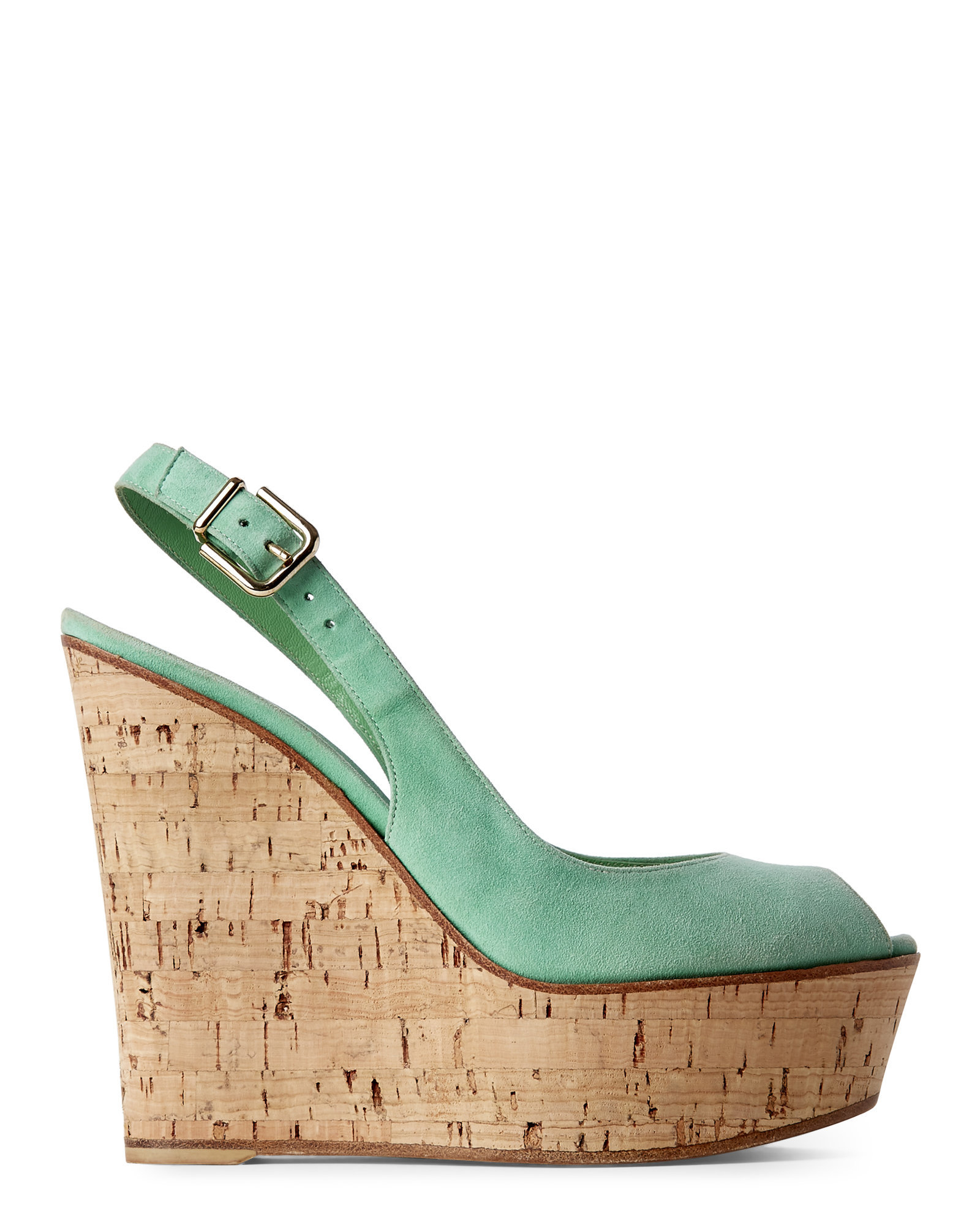 gianvito mint cork wedge sandals in green lyst