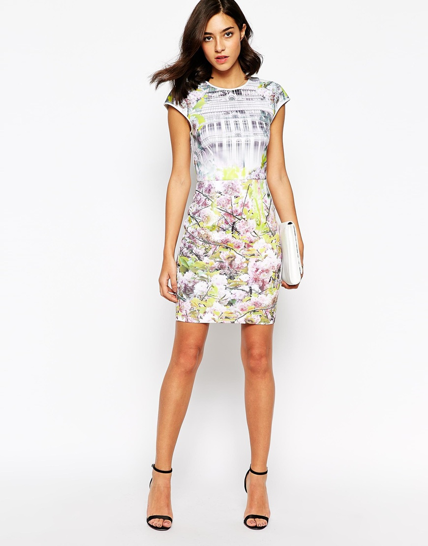 Ted Baker Fitted Dress In Window Blossom Print Lyst