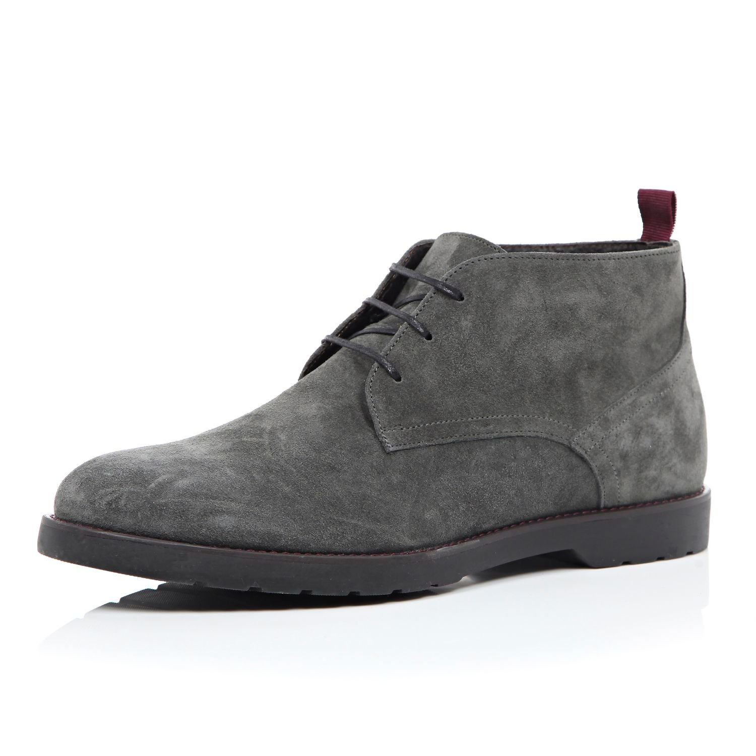 River island Dark Grey Suede Chunky Chukka Boots in Gray for Men ...