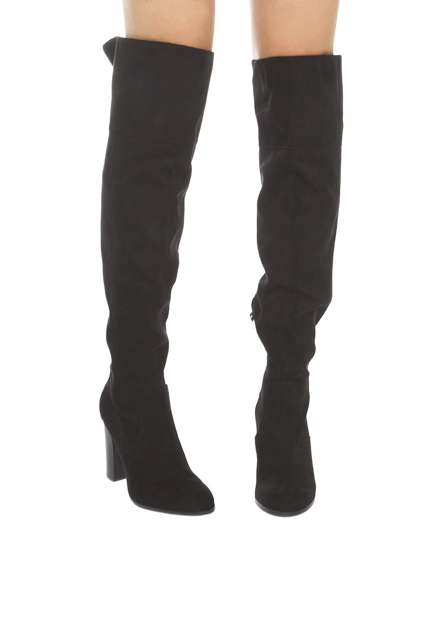 the knee heeled boots black suede in black lyst
