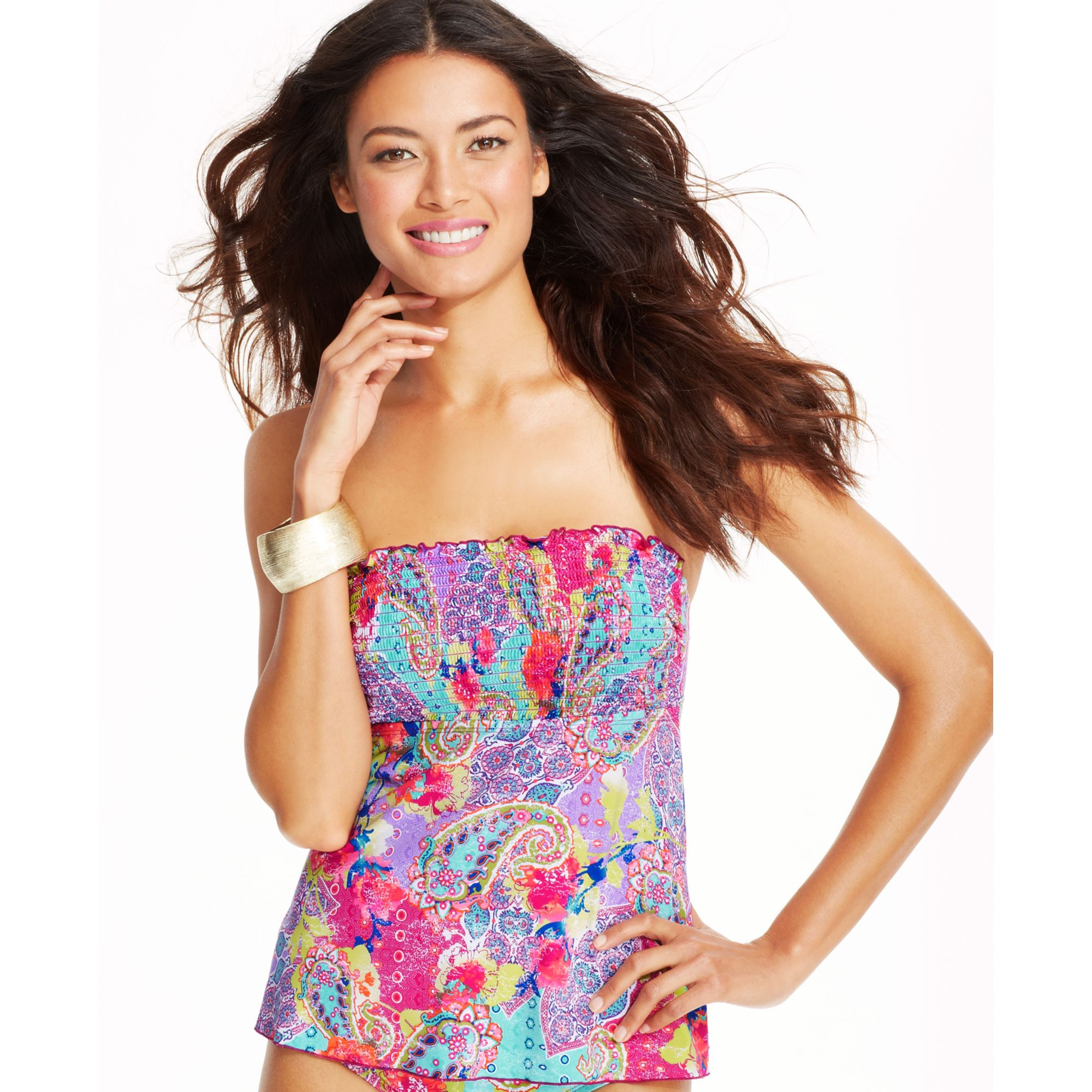 a75d6071e8 Kenneth Cole Reaction Paisleyprint Smocked Bandeau Tankini Top - Lyst
