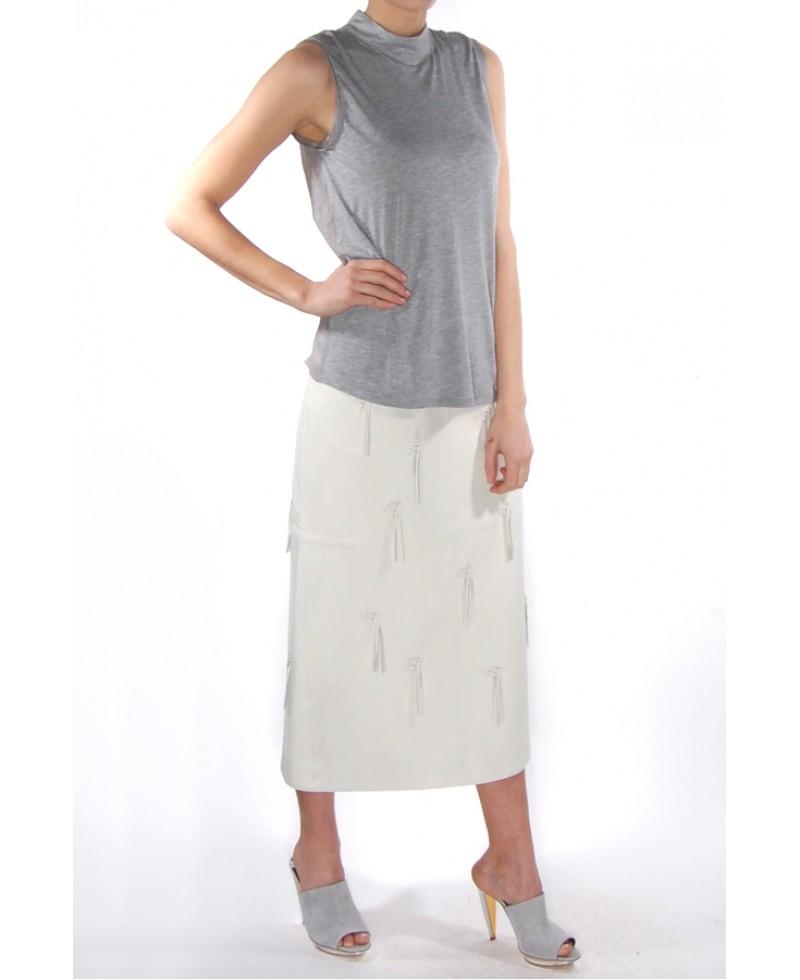tibi leather fringe pencil skirt in white lyst