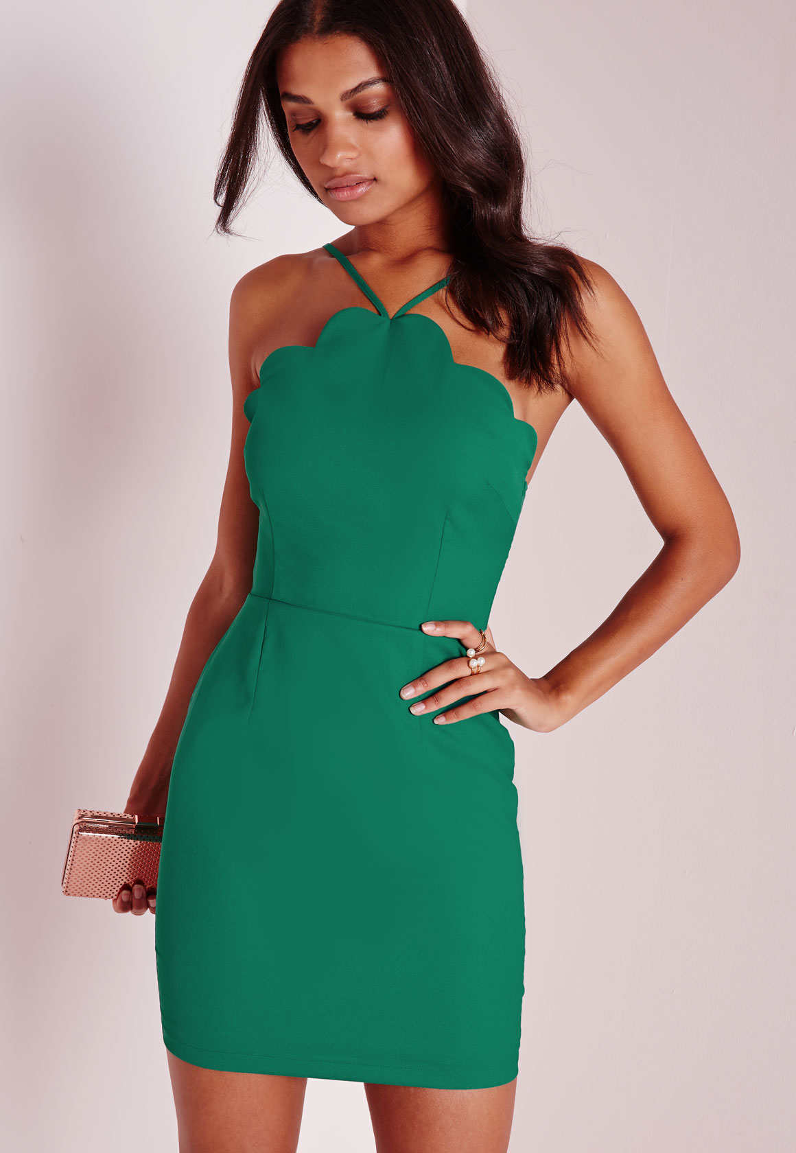 Missguided Scallop Bodycon Dress Green in Green - Lyst