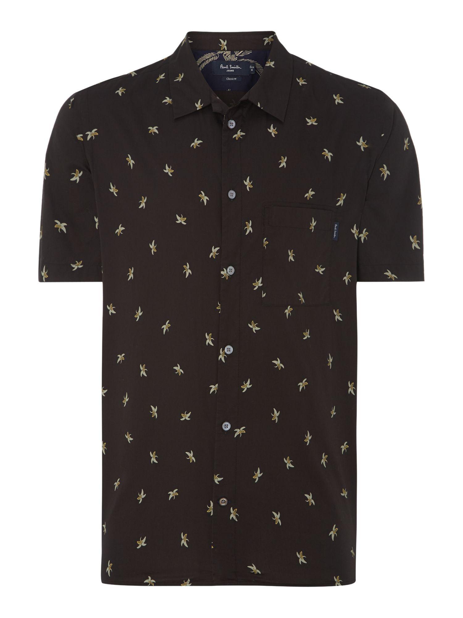 Paul Smith Shortsleeve Banana Print Shirt In Black For Men