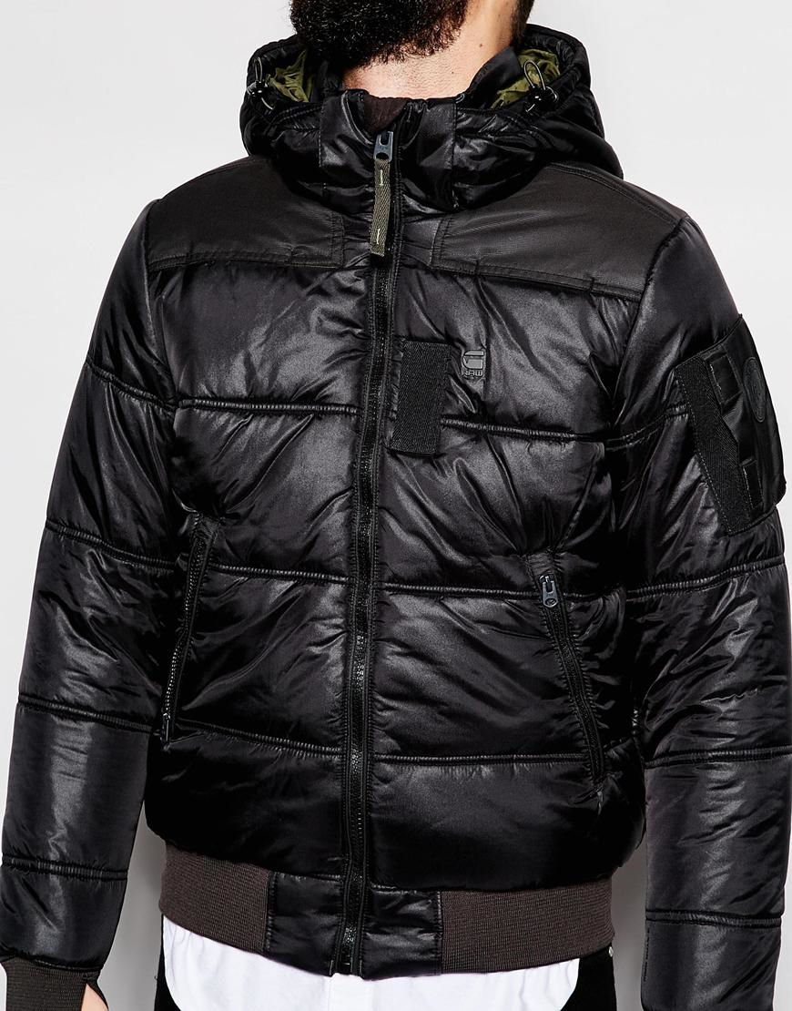 g star raw quilted hooded jacket whistler bomber myrow nylon in black for men lyst. Black Bedroom Furniture Sets. Home Design Ideas