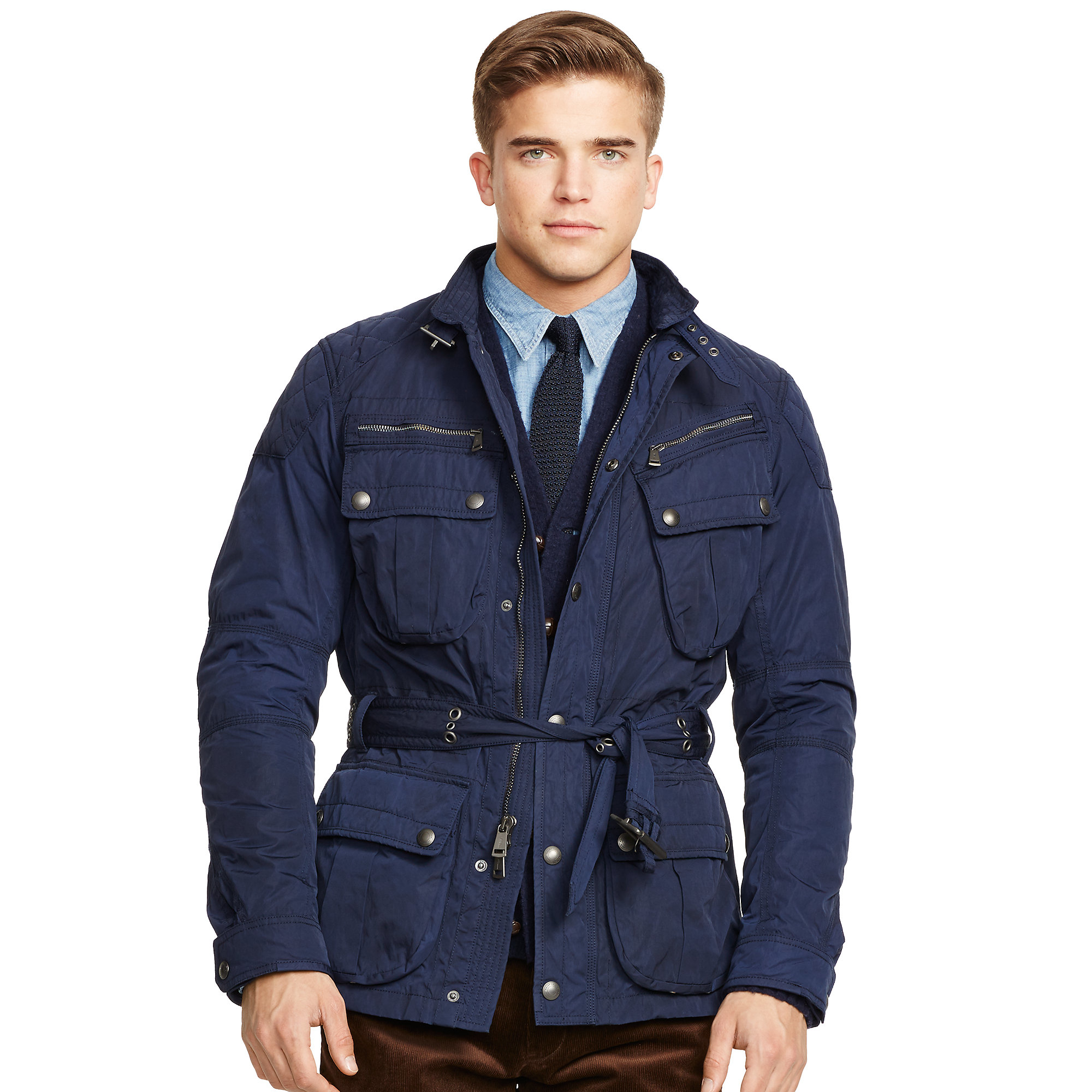 polo ralph lauren belted moto jacket in blue for men lyst. Black Bedroom Furniture Sets. Home Design Ideas