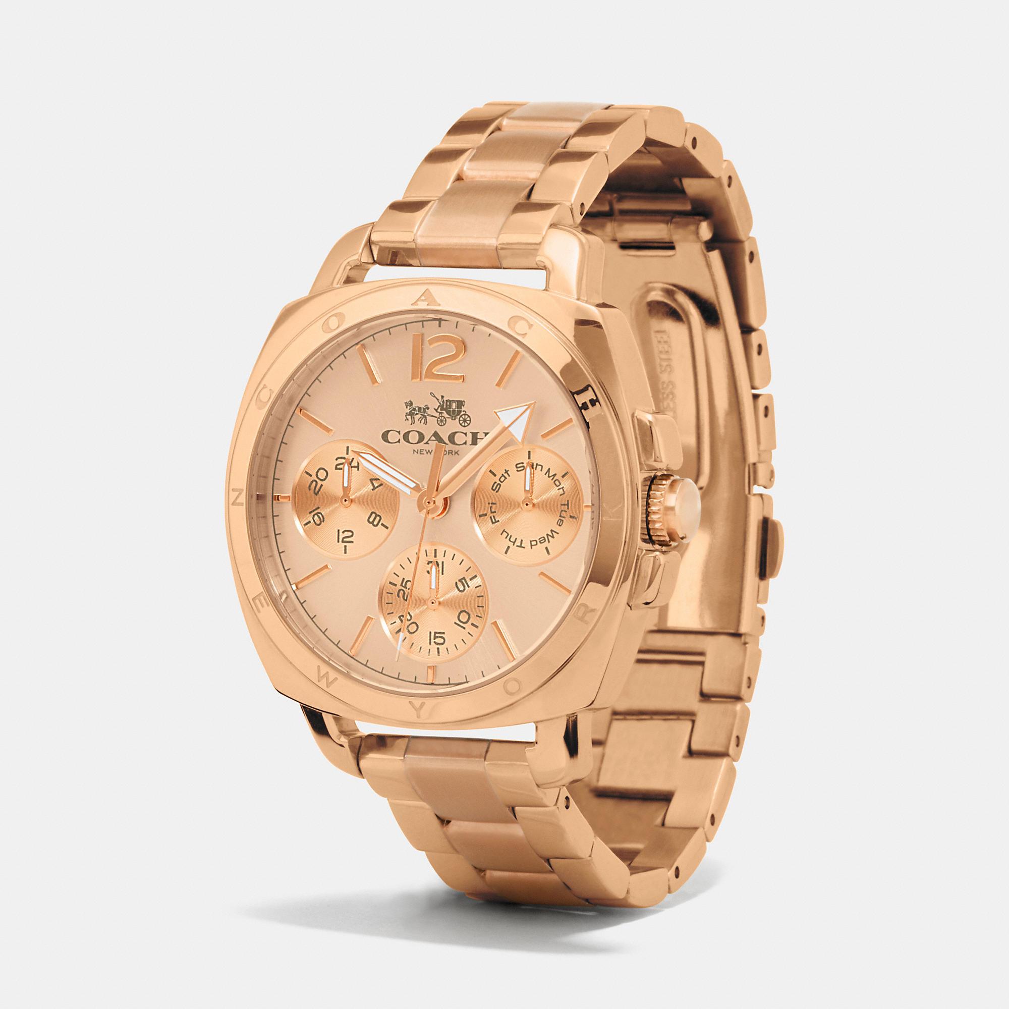 4eb882fa962d4 COACH - Pink Boyfriend 38mm Rose Gold Plated Multifunction Bracelet Watch -  Lyst