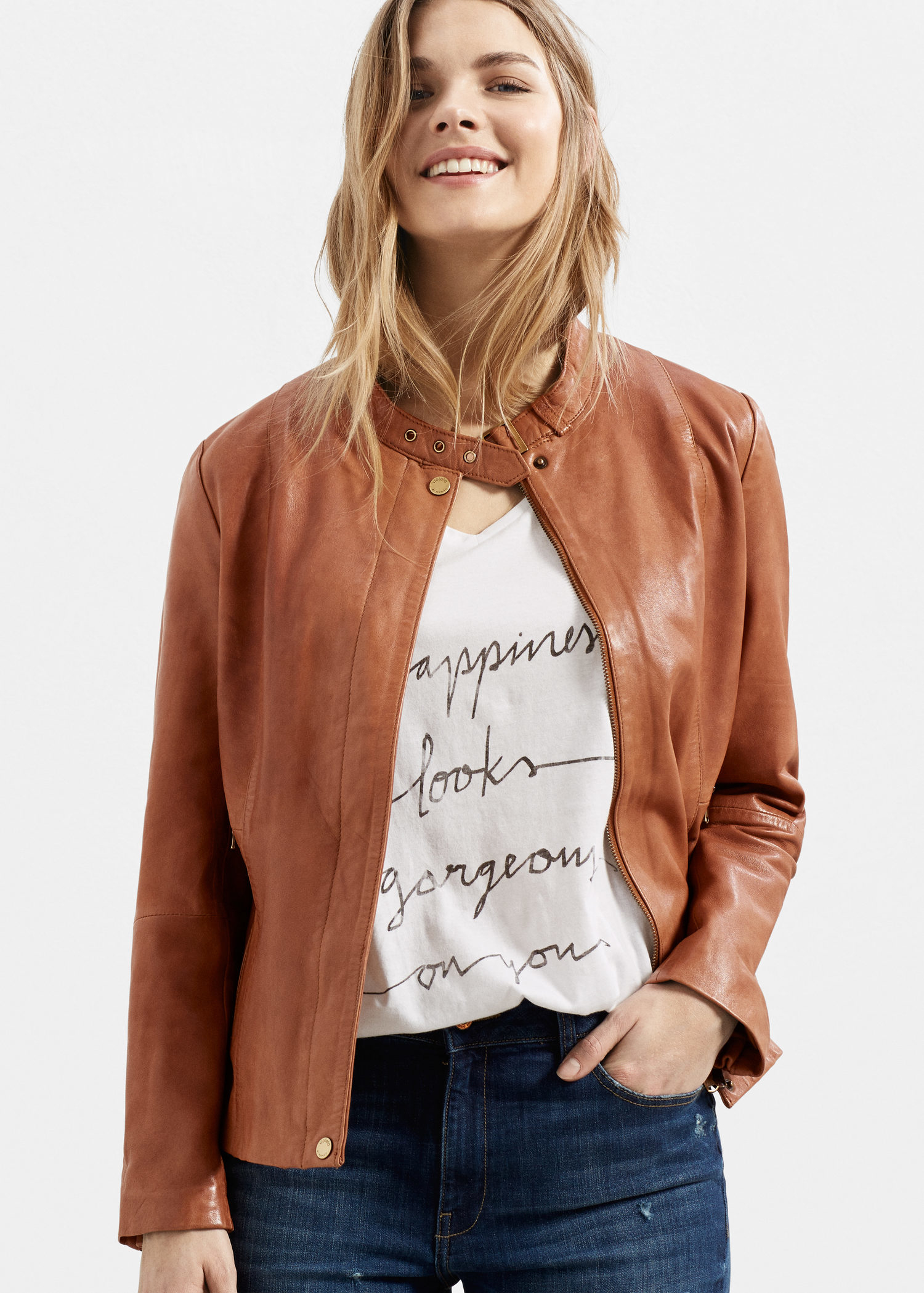 Violeta By Mango Buckles Leather Jacket In Brown Lyst