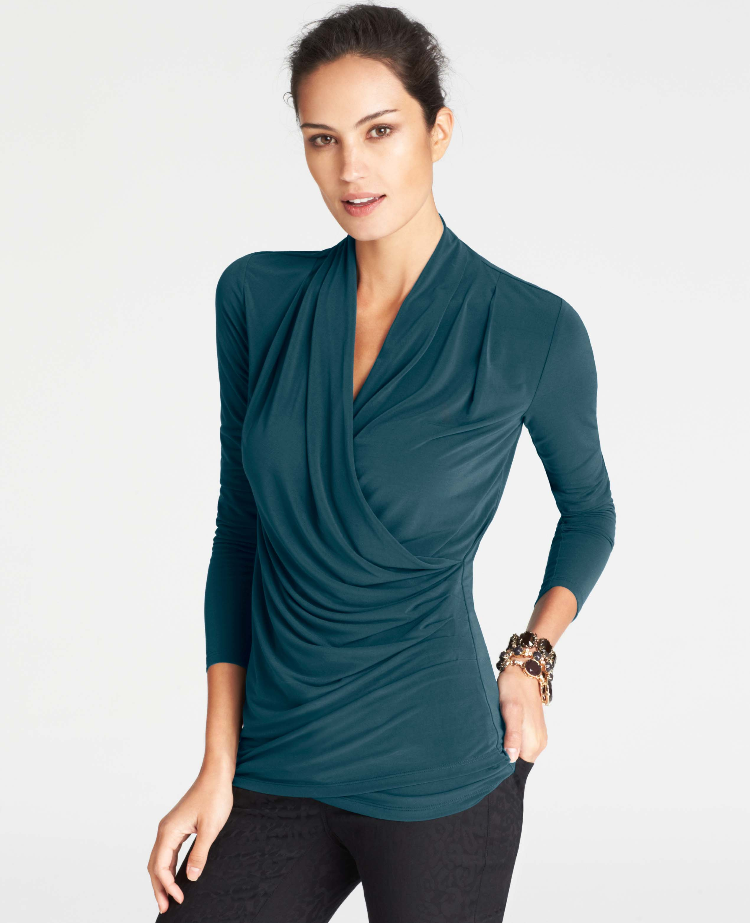 c5d3dbe03ffb8a ASOS DESIGN sheer wrap top with lace trims Green Women s Tops 100 Polyester  WXjYULSa Source · Lyst Ann Taylor Pleated Jersey Wrap Top in Green