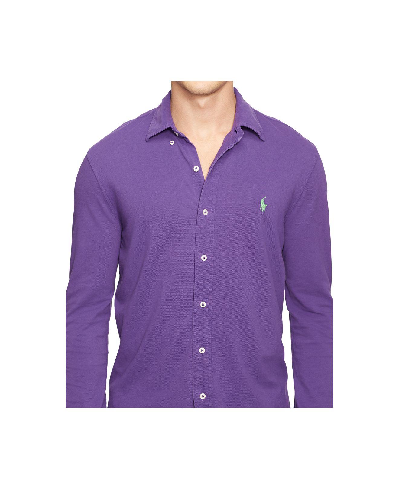 Polo ralph lauren Featherweight Mesh Button-down Shirt in Purple ...