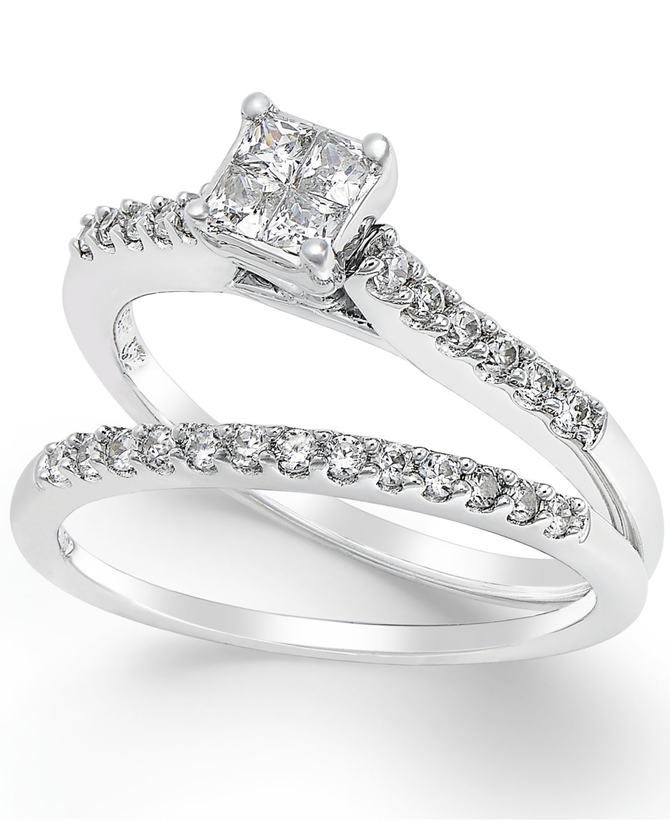 Macy s Diamond Engagement Ring Bridal Set 1 2 Ct T w In 14k White Gol