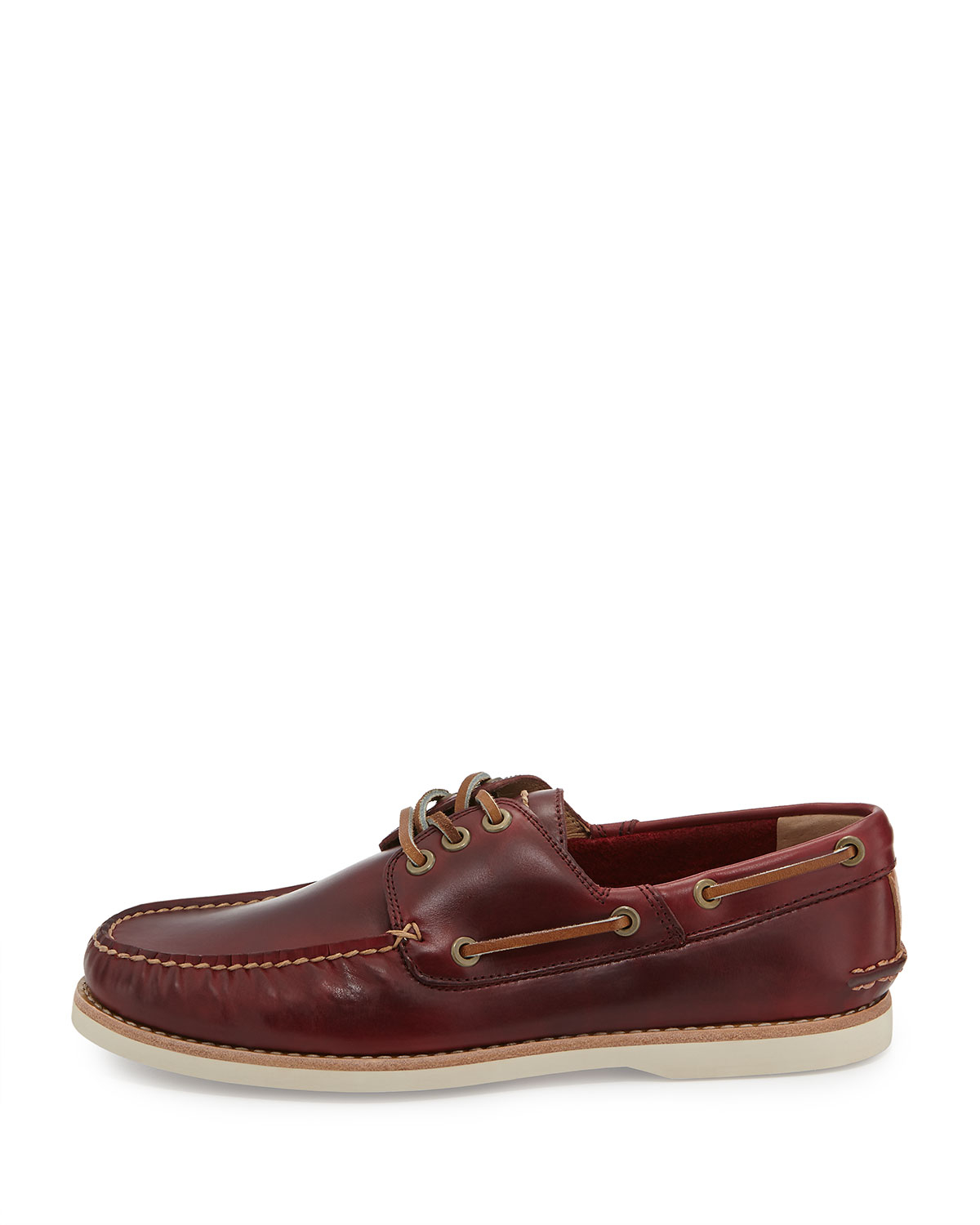 frye sully leather boat shoe burgundy in pink for