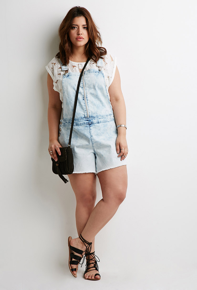 59020c25f0e Lyst - Forever 21 Plus Size Cloud Wash Overall Shorts in Blue