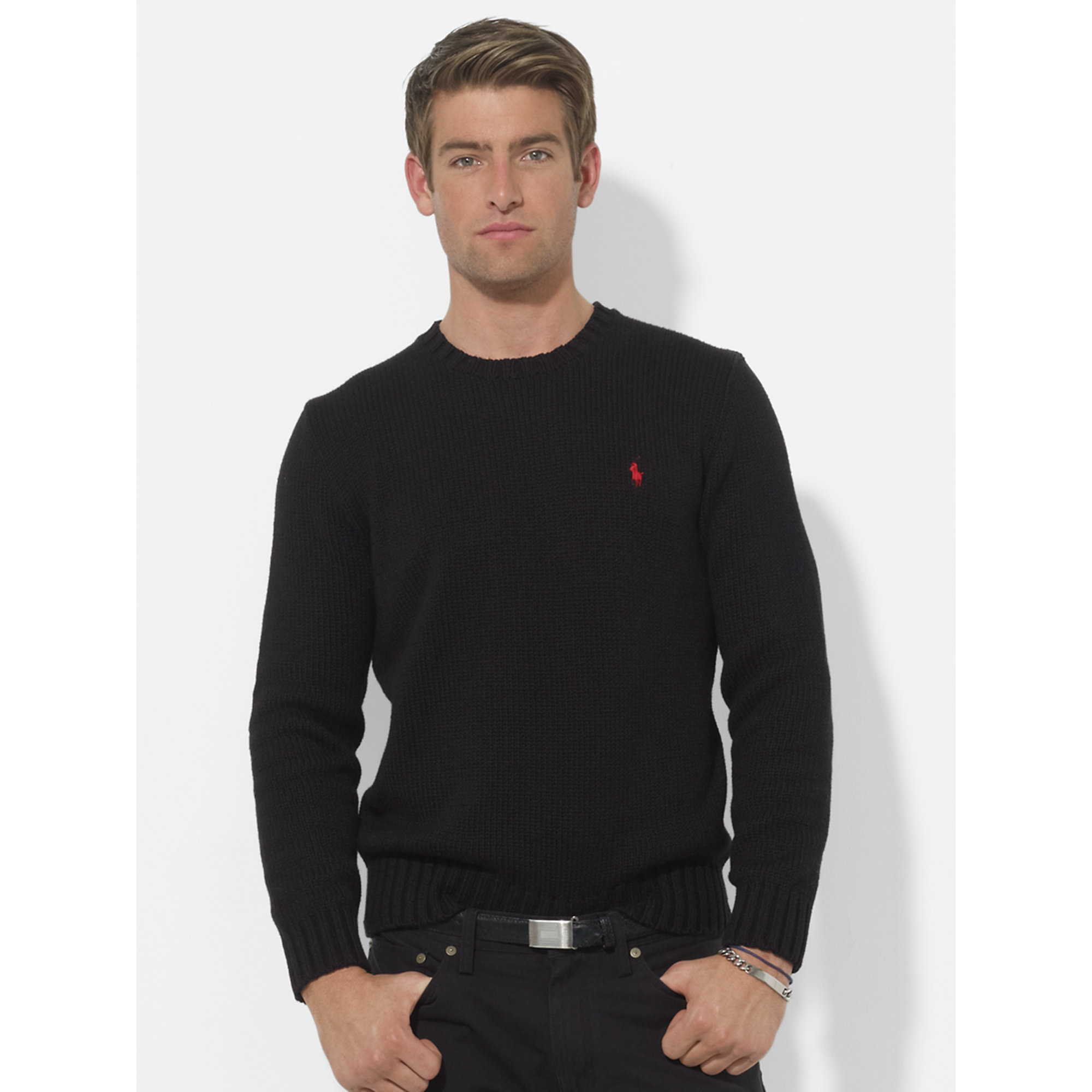 Polo ralph lauren Cotton Crewneck Sweater in Black for Men | Lyst