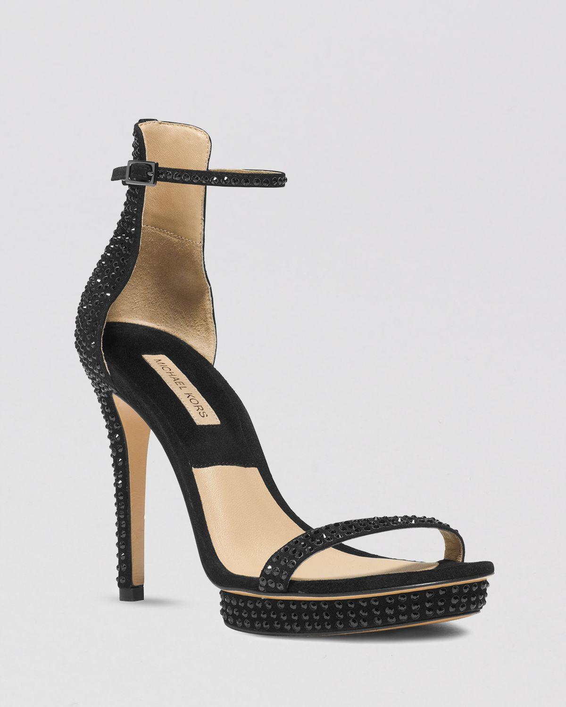 michael kors platform evening sandals doris high heel in black lyst. Black Bedroom Furniture Sets. Home Design Ideas