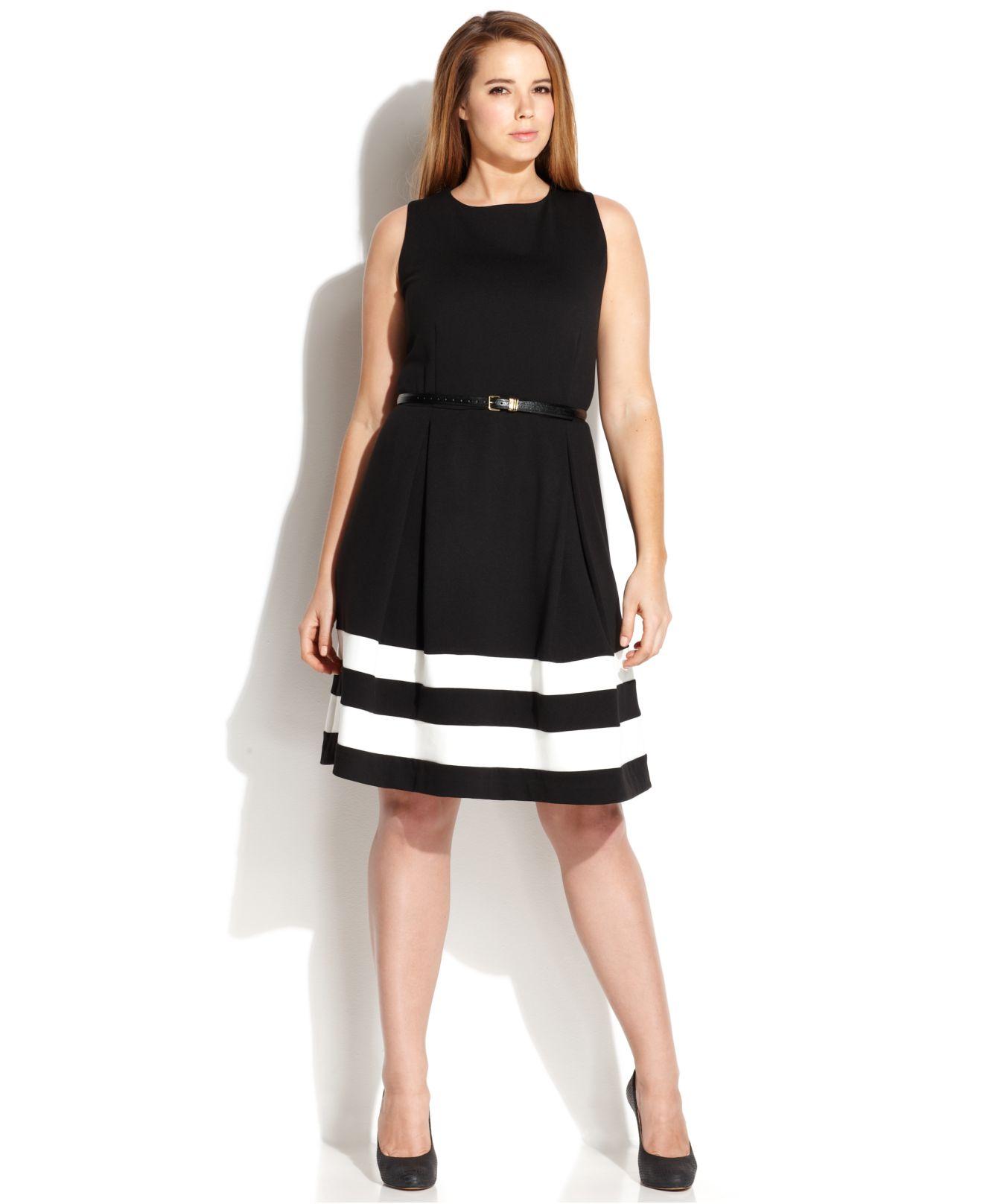 Plus Size Striped-Hem Belted Dress