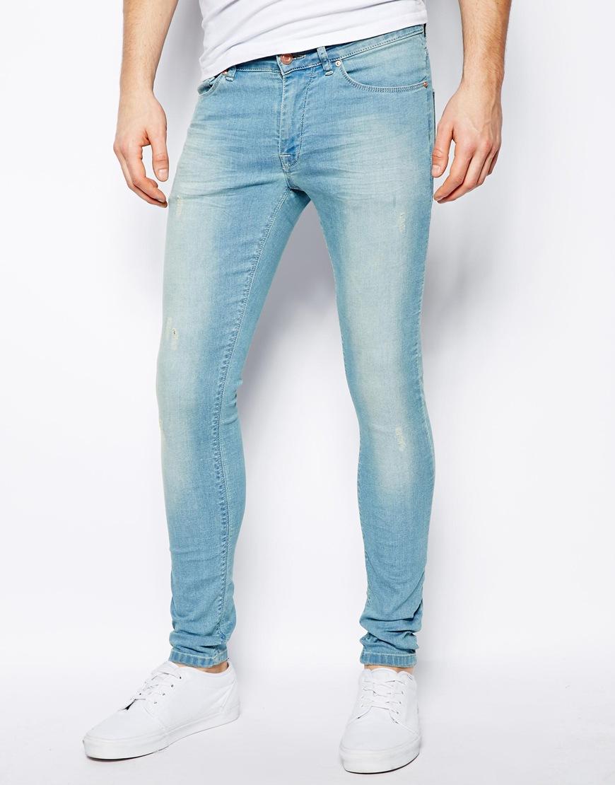 3e43b702d ASOS Extreme Super Skinny Jean in Light Wash in Blue for Men - Lyst