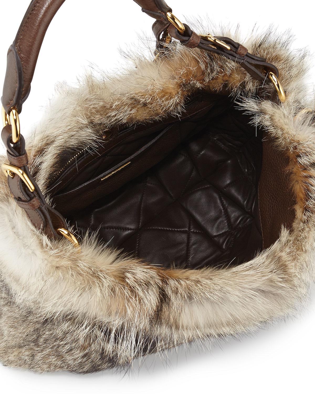 Prada Fox Fur Hobo Bag in Brown (Natural (Naturale)) | Lyst