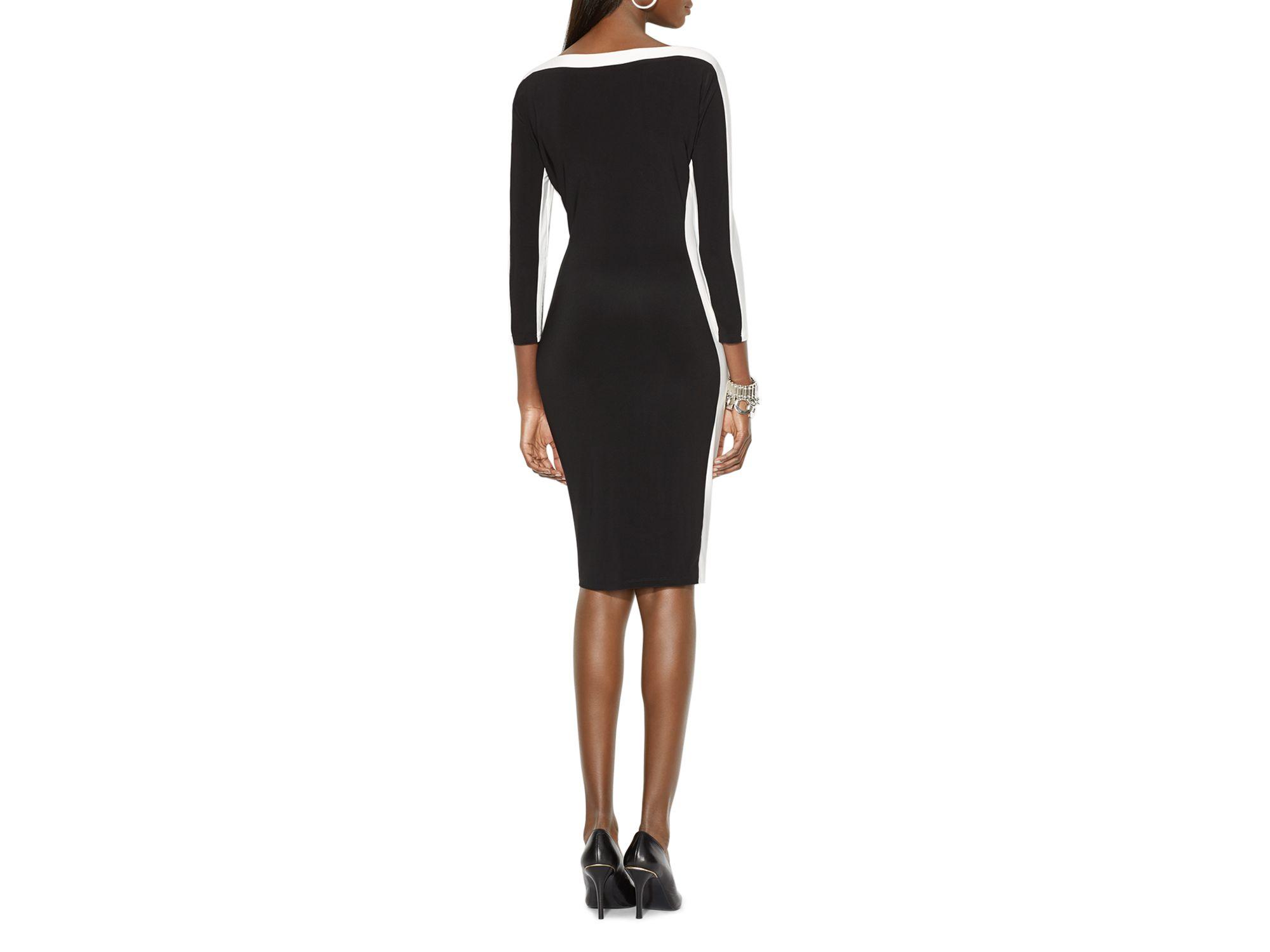 0a71d754 Ralph Lauren Black Lauren Color Block Matte Jersey Dress