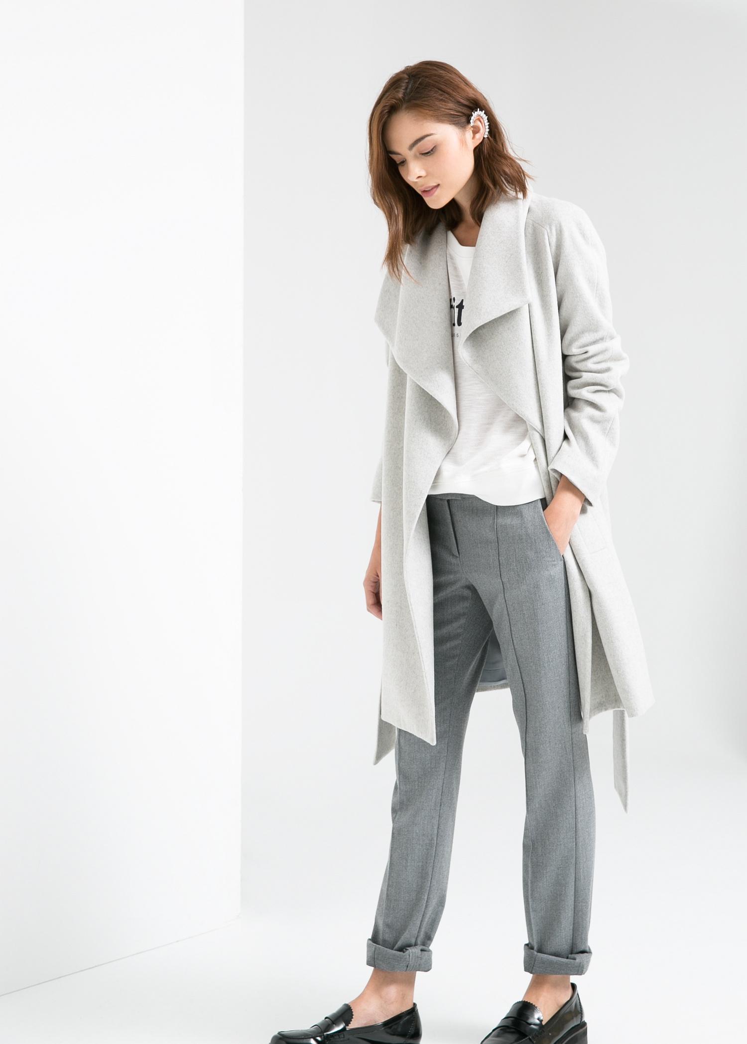 Mango Lapels Wool Blend Coat In Gray Lyst