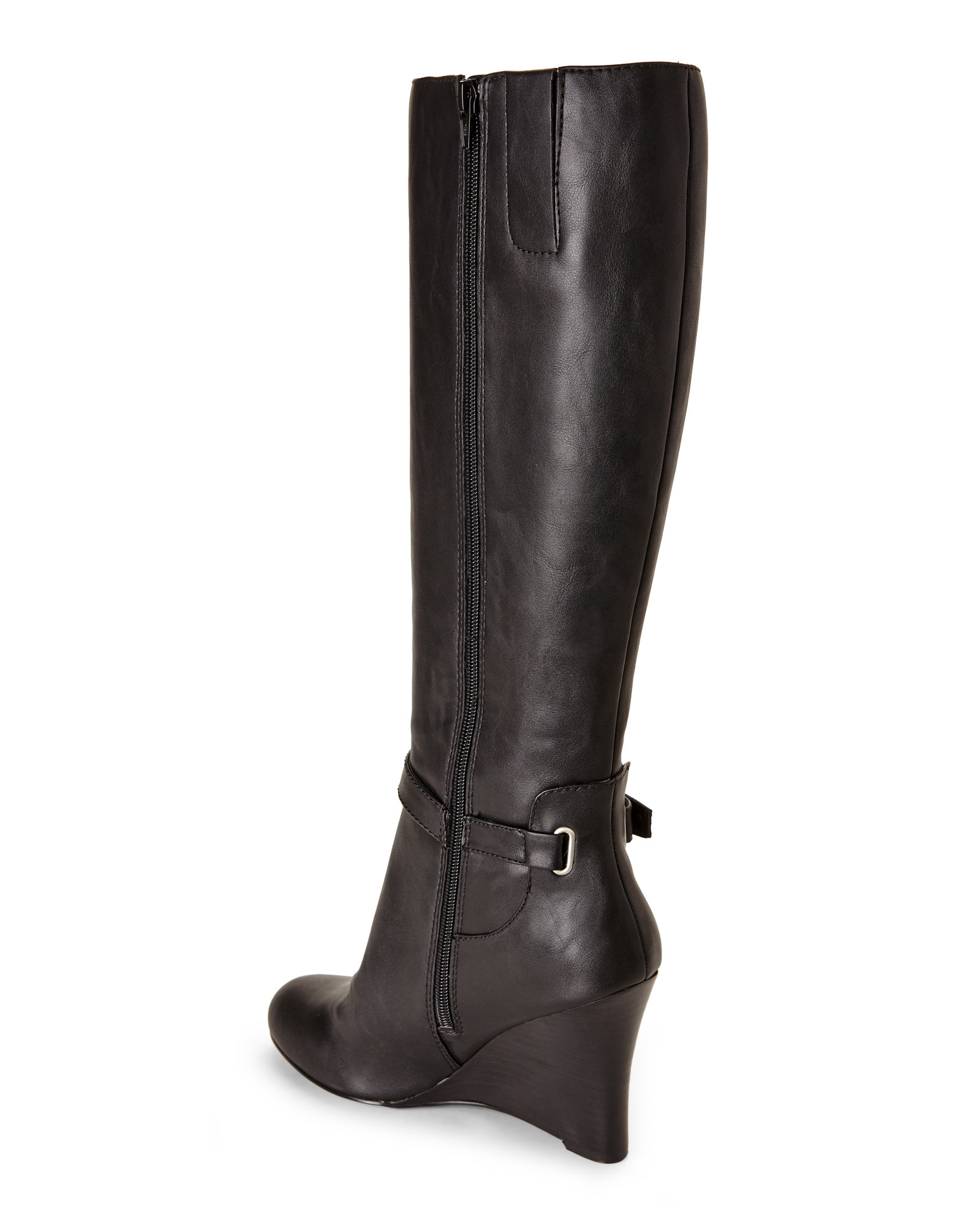 nine west black ovata wedge boots in black lyst