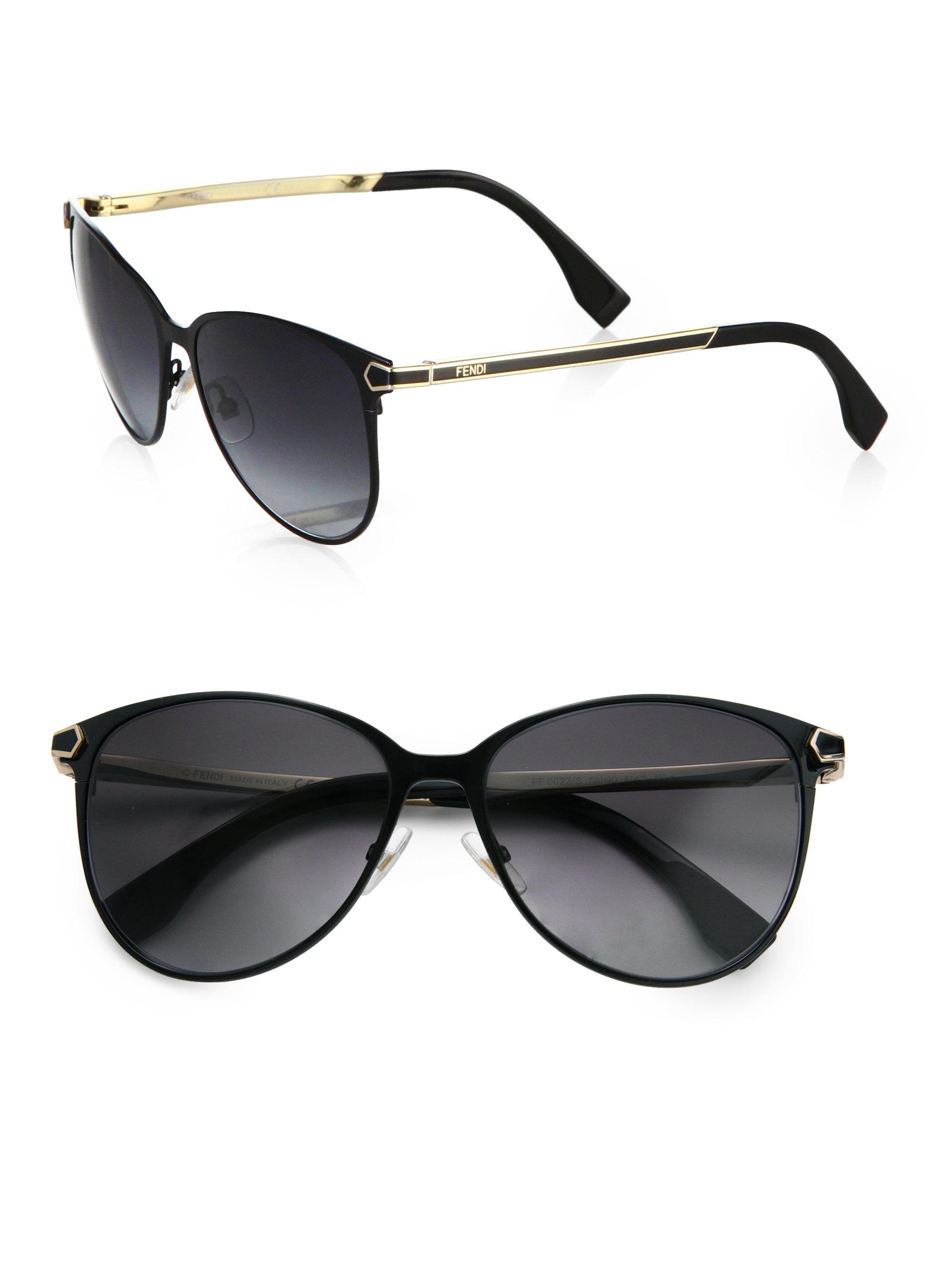d5b9aeaccf6b Fendi 2jours Metal Catseye Sunglasses in Black - Lyst