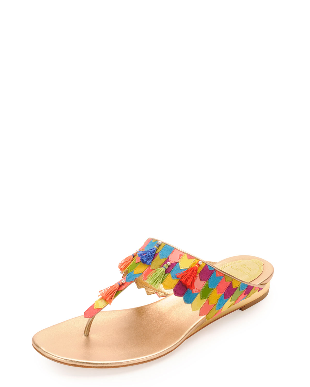 3f9fa261a54f Lyst - Rene Caovilla Leather Tassel Thong Sandal Multicolor