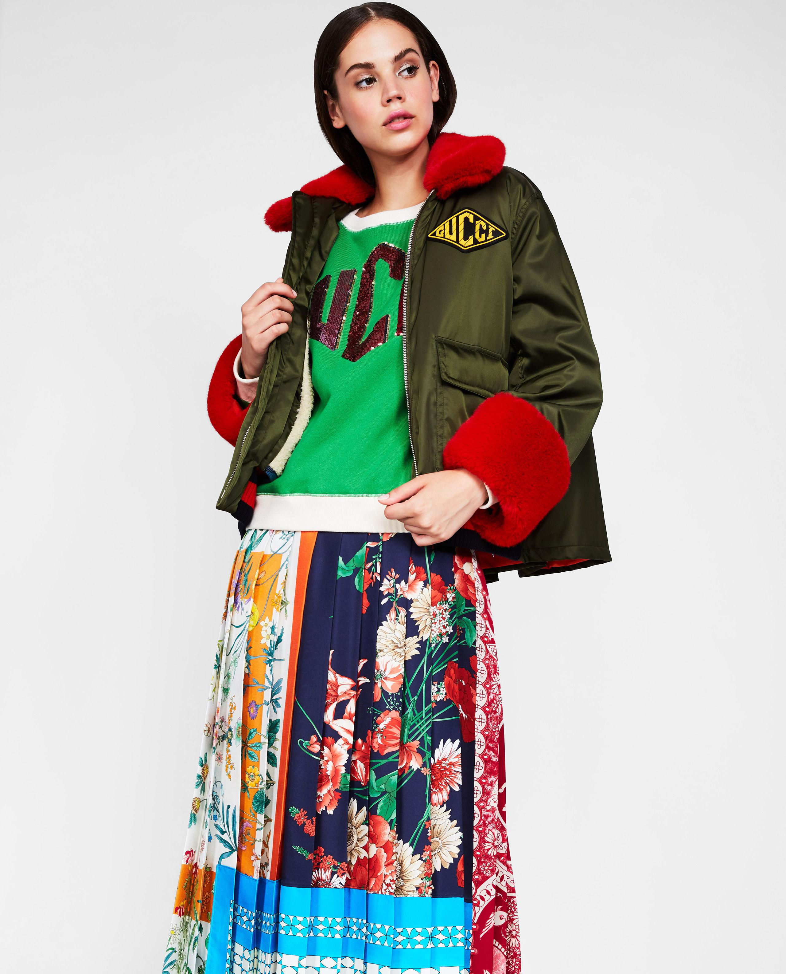510038a6955160 Gucci Puffer Jacket With Faux Fur Profiling in Green - Lyst